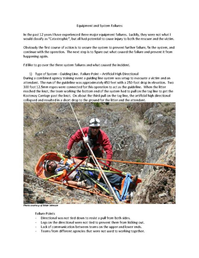 First page of article covering rescue equipment system failures.